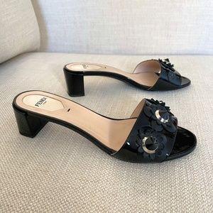 Fendi Slip On Mules Floral Sandals Size 8